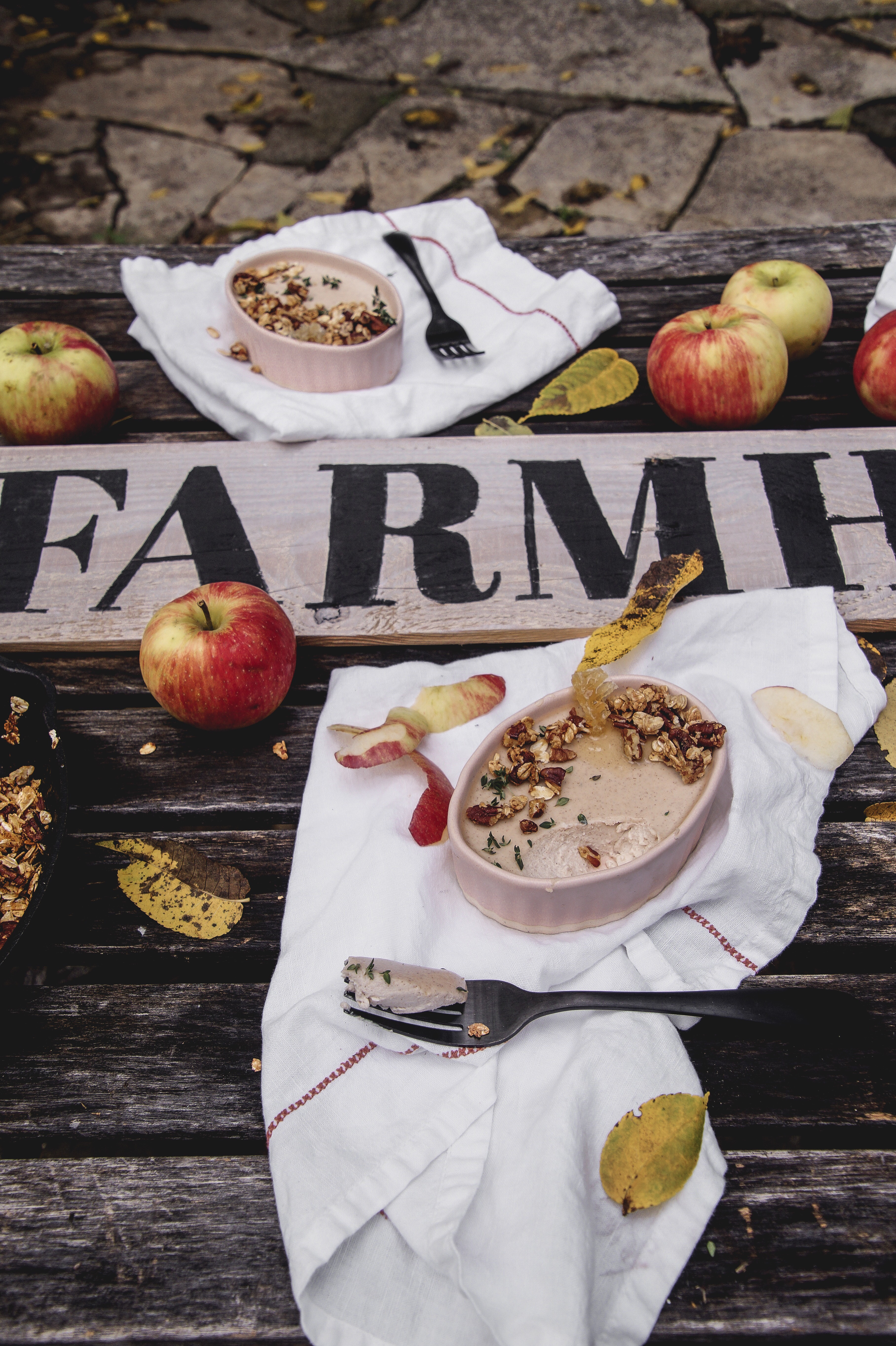 Fall tablescape using apples from A Messy Bun Kitchen, DIY fall decor, rustic fall decor, fall table decor, fall tablescapes, fall table centerpieces, Dinner stories, our food stories, apple desserts, dessert recipes,