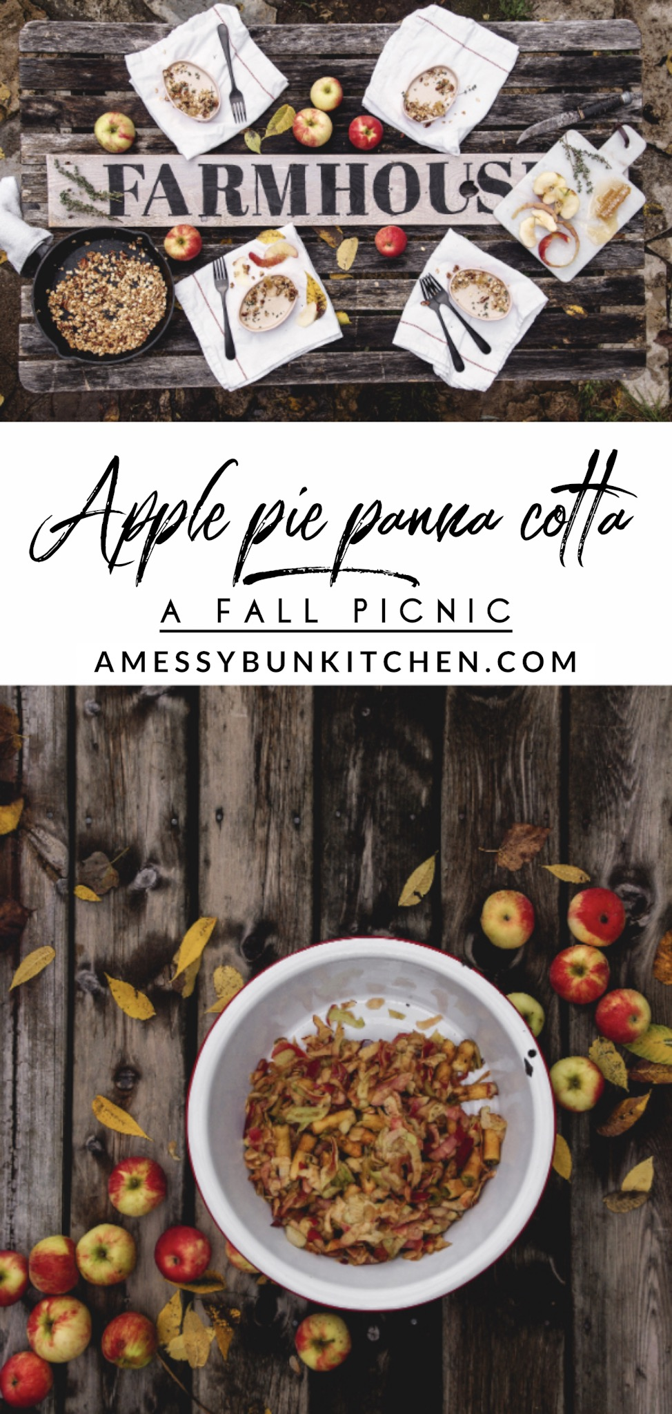 apple peel panna cotta and a fall picnic by Mandy Tetrault from A Messy Bun Kitchen. Fall tablescapes, fall desserts, apple desserts, thanksgiving desserts, easy apple desserts