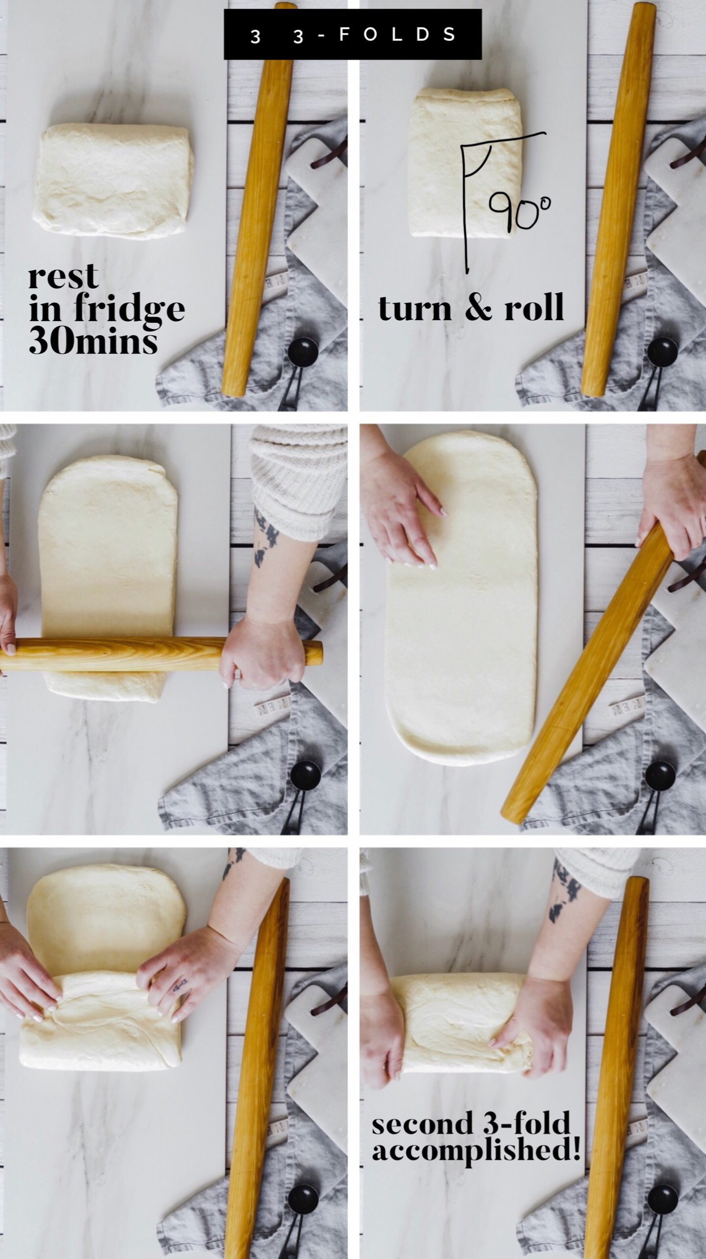 how to make homemade puff pastry, rough puff, croissants, and danish pastry. Learning the techniques of rolled in dough.