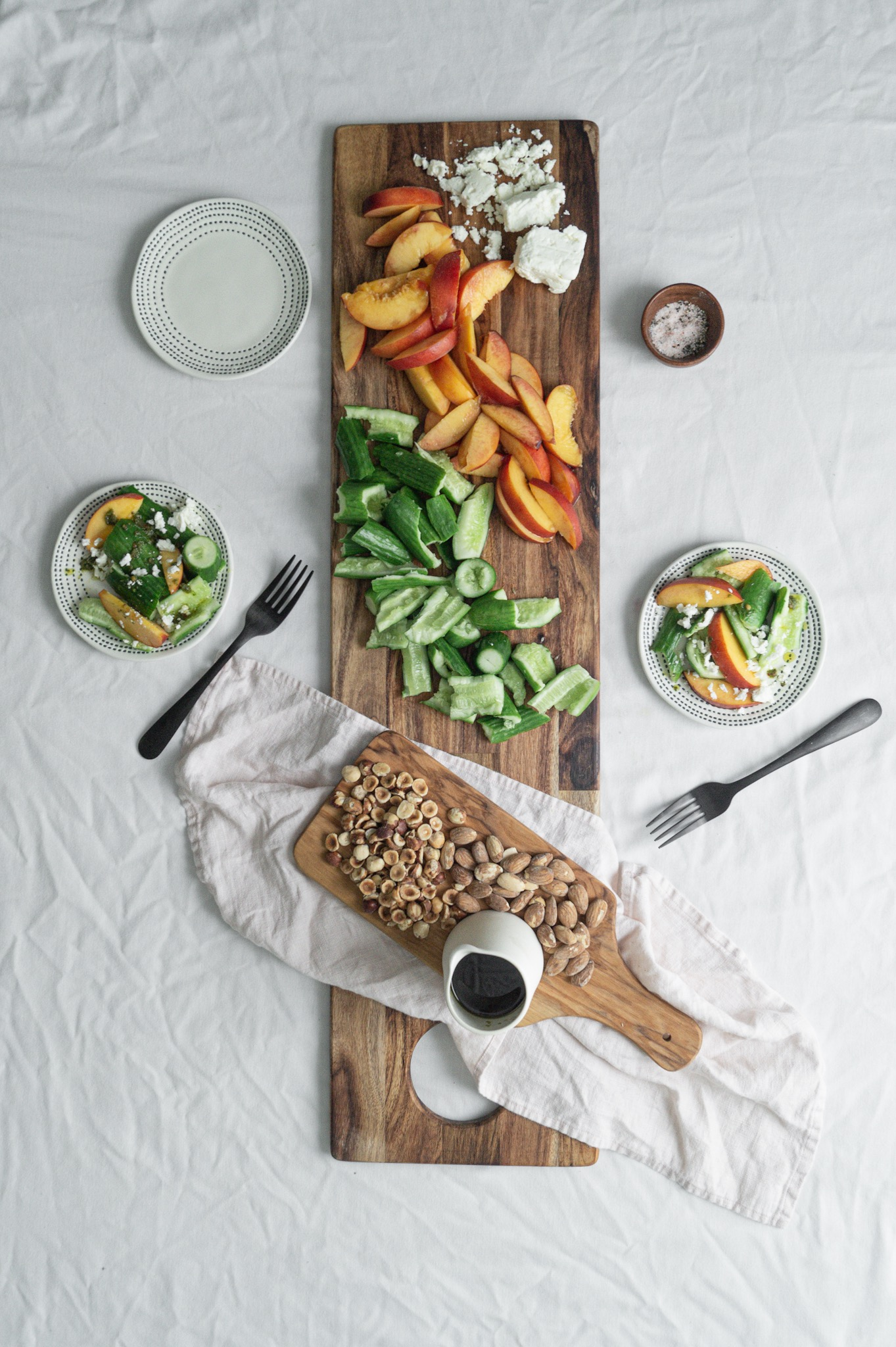 Cucumber and peach summer salad board
