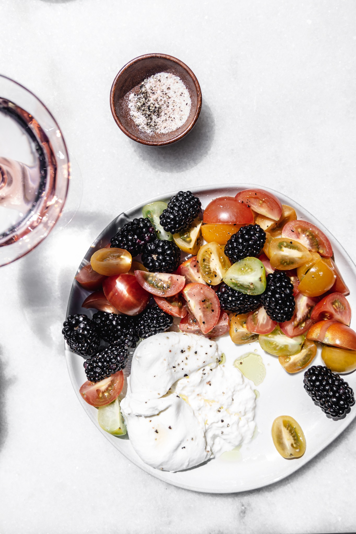 Blackberry tomato caprese summer side salads