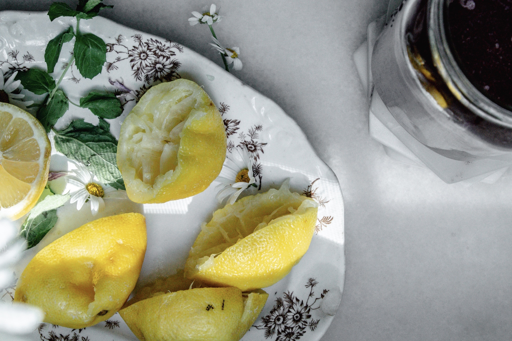 Use the juice of about three large lemons to make one cup lemon juice for out iced tea concentrate.
